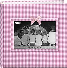 Pioneer Photo Albums Álbum de fotos com moldura de tecido Gingham de 200 bolsos para impressões de 10 x 15 cm, rosa