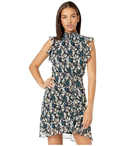 Sam Edelman Python Ruched Dress (Teal Multi) Women