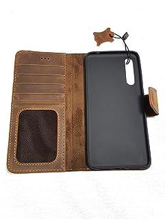 متوافق مع Huawei P20 PRO غطاء هاتف جلد أصلي فوليو حافظة باللون البني