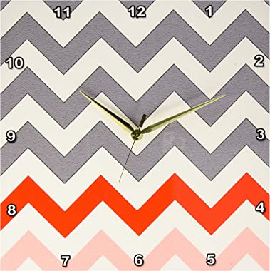 """3dRose DPP_179807_2 Charcoal Grey Chevron with Red and Coral Zig Zag Accent Zigzag Pattern Wall Clock, 13 by 13"""""""