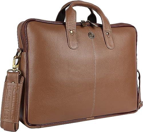 Hammonds Flycatcher Men Leather Laptop Messenger Bag LB106BS (Burlywood)