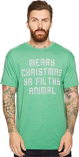 The Original Retro Brand - Merry Christmas Ya Filthy Animal Short Sleeve Heathered T-Shirt