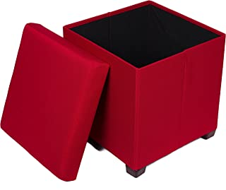 BirdRock Home Folding Storage Ottoman with Legs - Upholstered - 16 x 16 - Linen - Strong and Sturdy - Quick and Easy Assembly - Foot Stool - Red