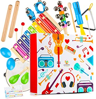 Learning Toy Boxes Complete Toddler Musical Instruments Band Clap! Bang! Tap! Shake! Encourage Music Sense for Kids Preschool Educational Wooden Tambourine Maracas Xylophone Set for Children