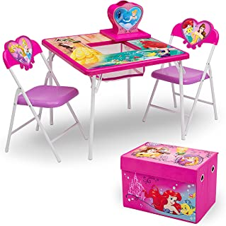 Delta Children 4-Piece Kids Furniture Set (Storage Table with 2 Chairs & Fabric Toy Box) - Ideal for Arts & Crafts, Snack Time, Homeschooling, Homework & More,Disney Princess