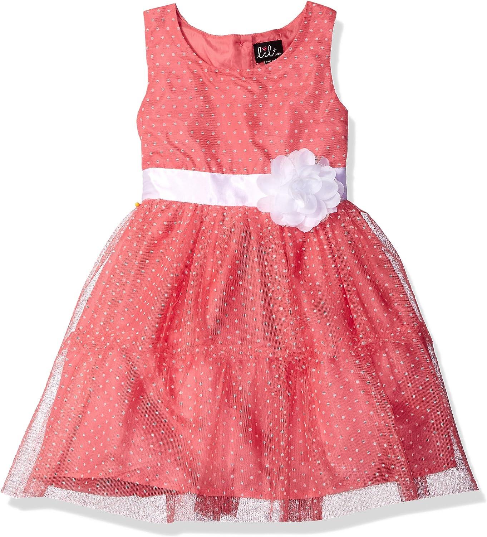 Lilt Girls' All Over Printed Dot Mesh Tiered Dress