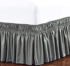 ElegantComfort Three Fabric Sides Wrap Around Elastic Style Solid Easy Off Dust Ruffled Bed Skirts 16 Inch Tailored Drop, ...