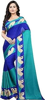 Jaanvi fashion Women's Crepe Silk Printed Saree (Taisha-Royal-Blue)