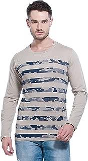 Alan Jones Men's Cotton Full Sleeves Striped Camouflage T-Shirt