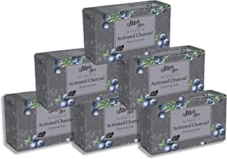 Mirah Belle - Organic Activated Charcoal Cleansing Soap Bar (Pack of 6-125 gm) - Clogged Pores, Blackheads, Discoloured an...