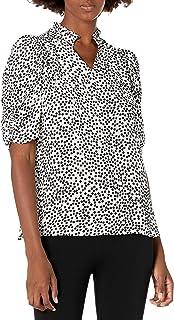 Amazon Brand - Lark & Ro Women's Georgette Half Sleeve Ruffle Neck Woven Blouse