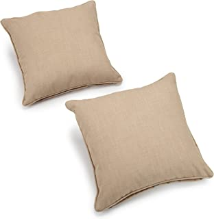 Blazing Needles Outdoor Spun Poly 20-Inch by 20-Inch by 6-Inch Throw Pillow, Sandstone, Set of 2