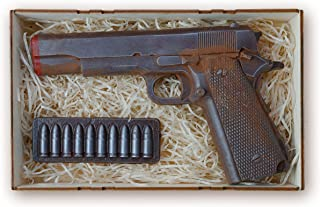 IronChoco Dark Chocolate Gun Candy Gift Set, Life Sized Solid Retro Candy - Original Gun Gift, Birthday Mens Gift Crate, A...