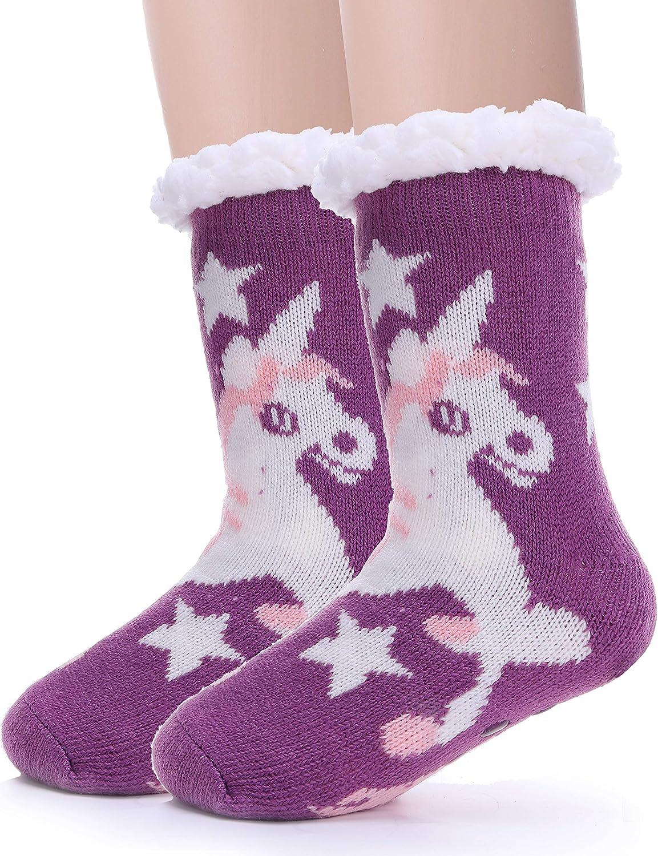 Kids Fuzzy Slipper Socks Girls Boys Plush Fluffy Fleece Lined Warm Sherpa Winter Cozy Child Socks
