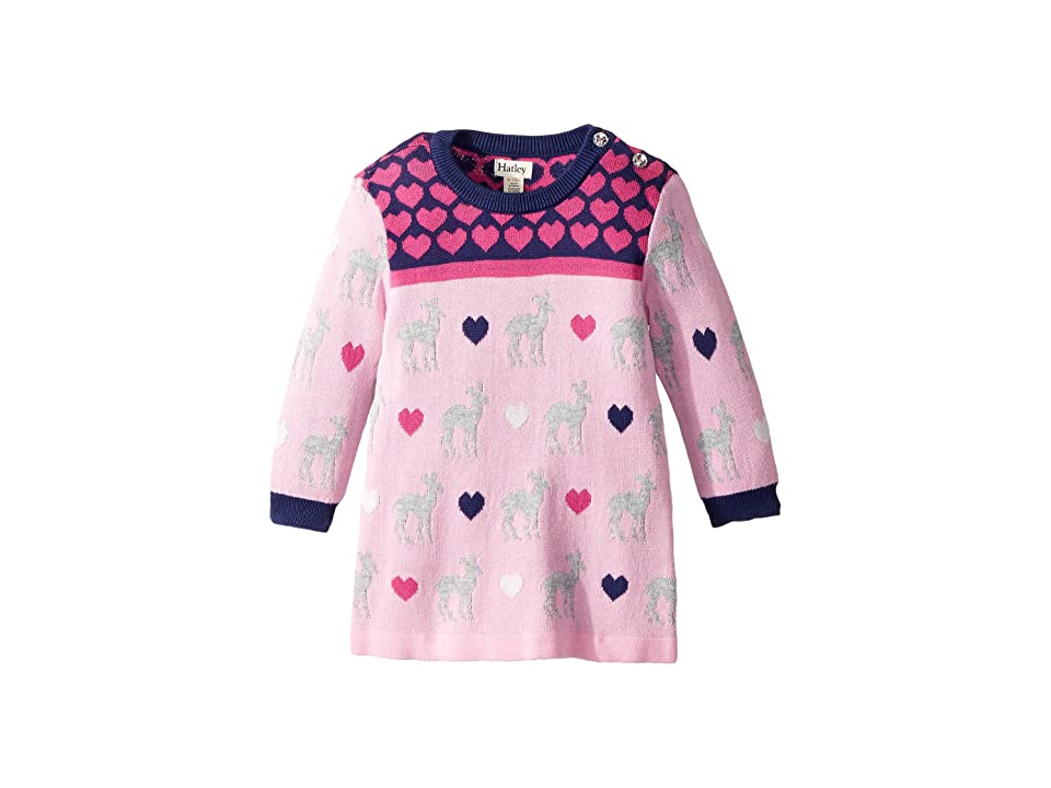 Hatley Kids Deer Hearts Mini Sweater Dress (Infant) (Pink) Girl