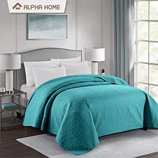 ALPHA HOME Bed Quilt Bedspread and Coverlet, Queen Size, Teal