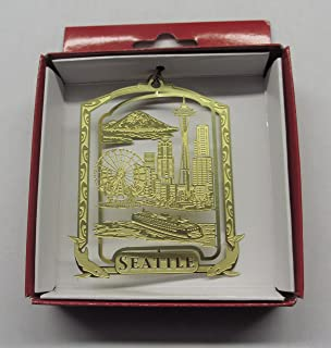 Seattle Brass Ornament City Skyline Space Needle Ferris Wheel Ferry