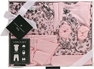 Laura Ashley 5 Piece Baby Essentials Gift Box Set, Rose Toile Print