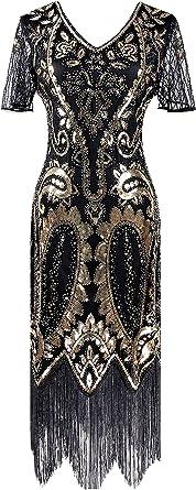 IWIWB Vintage Women's Flapper Dresses 1920s Sequin Beaded Fringed Great Gatsby Dress