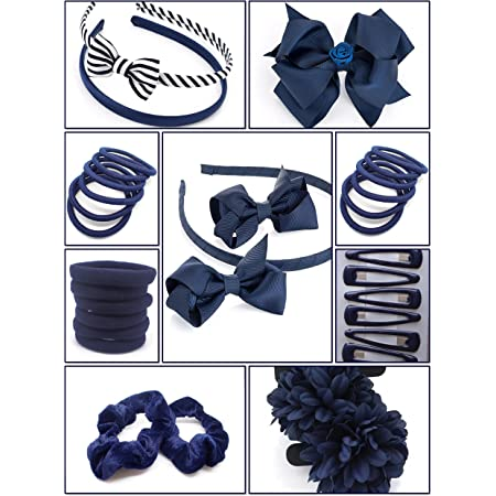 Black White Girl/'s Pack of 12 Hair Bands Blue Red Great for School