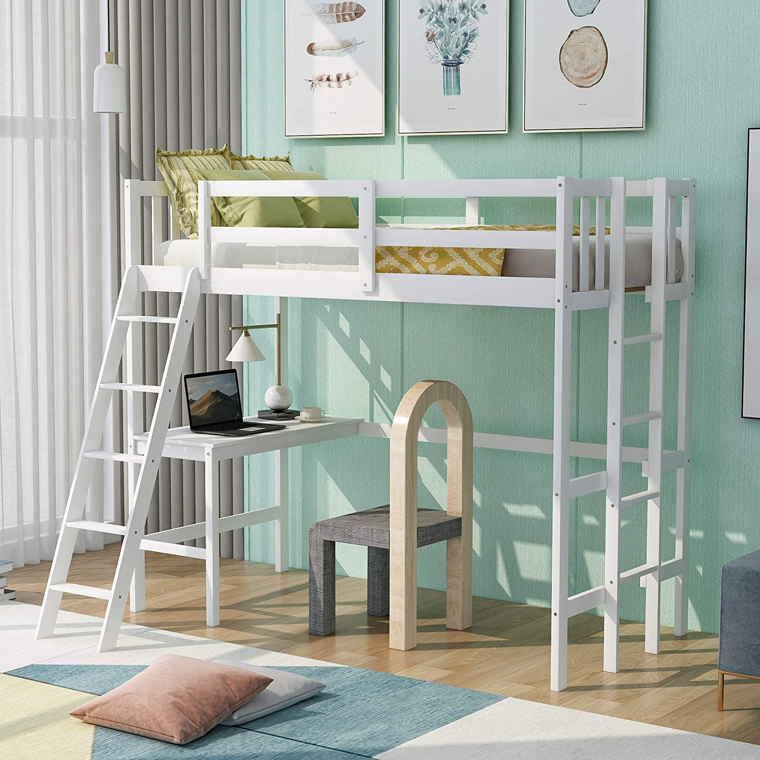 Wooden Twin Size Loft Bed National uniform free shipping Wood Under-Bed Fixed price for sale Rockjame with