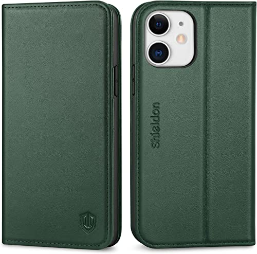 SHIELDON Case for iPhone 12/12 Pro 5G, Genuine Leather Folio Wallet Case with Kickstand RFID Blocking Card Slots Magn...