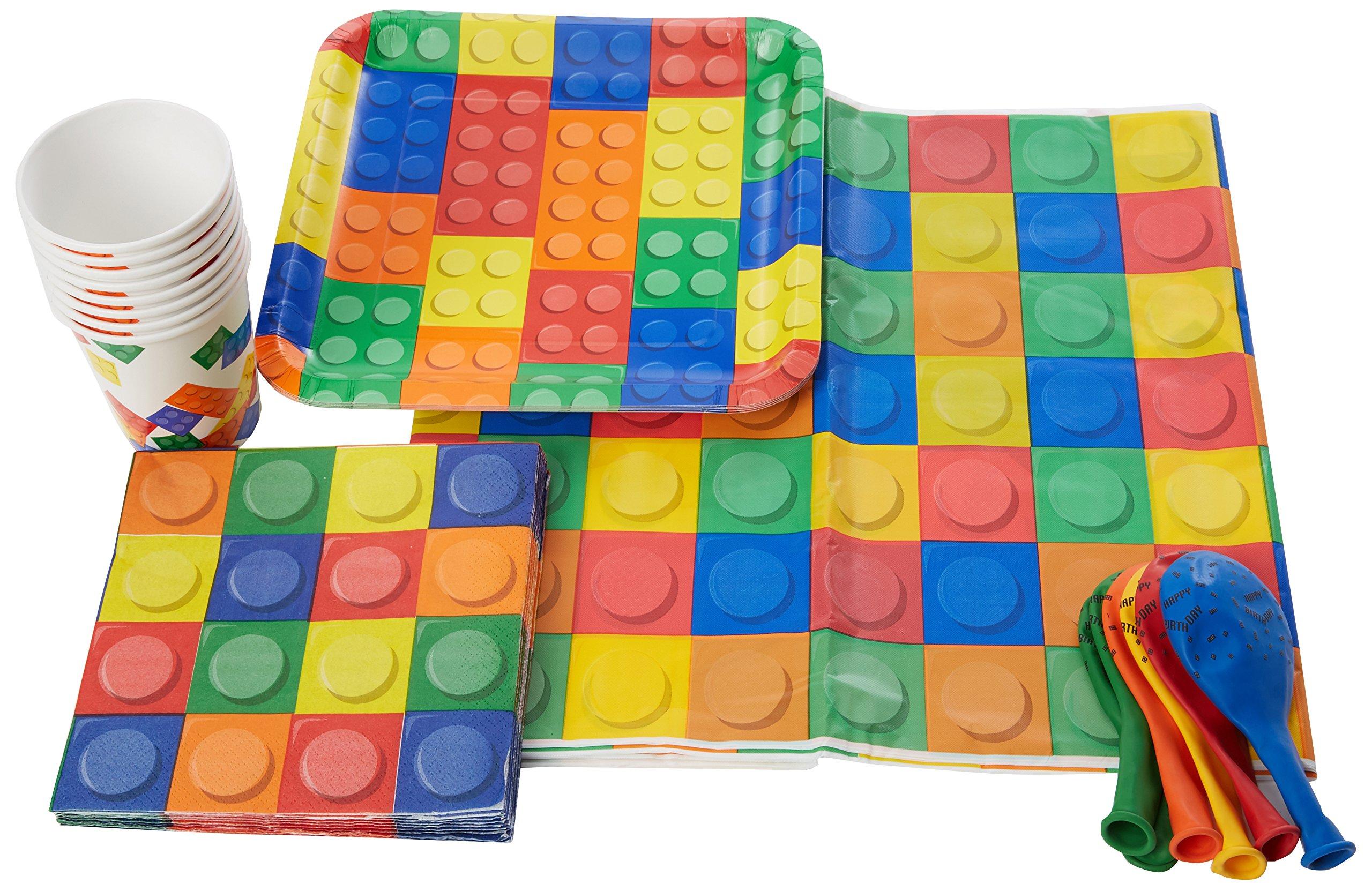 Creative Party bpwfa-4176 Block Party Juego de vajilla para 16 personas, incluye platos/tazas/servilletas/globos de látex/mesa cubre: Amazon.es: Juguetes y juegos