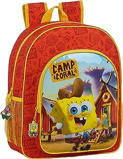 612083640 Mochila Escolar Junior de Bob Esponja adaptable a carro, Talla única, Naranja/Amarillo