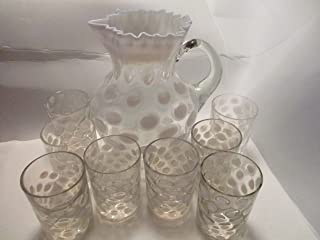 Fenton White Coin Dot Opalescent Crimped Pitcher with 8 Tumblers Set