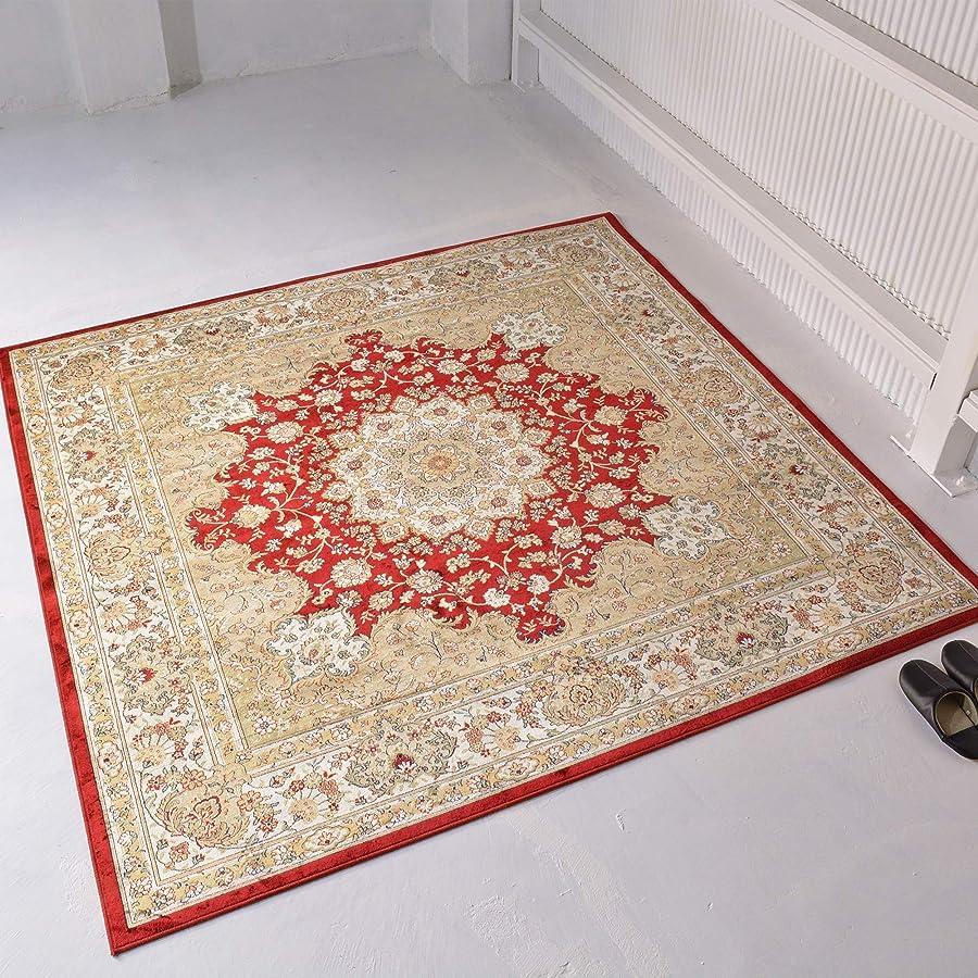 矢じりホイストミトンラグ ラグマット 3畳 絨毯 カーペット 裏不織布貼り 床暖房対応 レッド 200x250cm