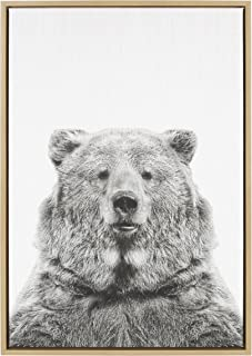 Kate and Laurel Sylvie Bear Animal Print Black and White Portrait Framed Canvas Wall Art by Simon Te Tai, 23x33 Natural