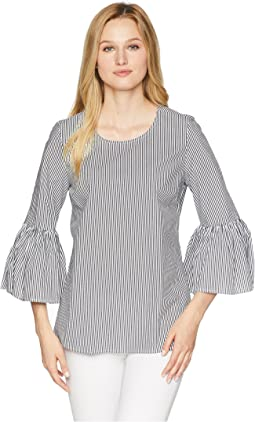 Calvin Klein Even Stripe w/ Bell Sleeve Blouse