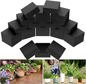 Telfun Pot Feet for Outdoor Planters, 24 Pack Invisible Plant Riser with Arbitrary Cut, Pot Risers Elevate up 3/4 inch, Rubber Flower Planter feet for Patios, Decks, Gardens and Floor