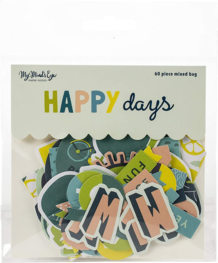 My Minds Eye HPD116 Happy Days Mixed Bag Cardstock Die-Cuts 60/Pkg