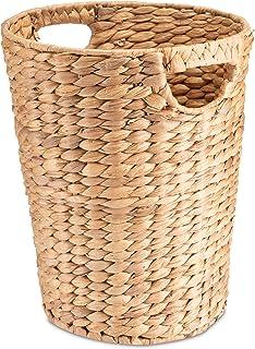 Decorasian Corbeille à papier tressée en jacinthe d'eau – Poubelle avec anse – Diamètre : 25 cm en haut, 19 cm en bas, hau...