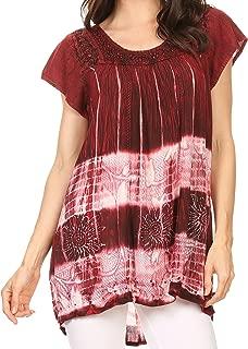 Sakkas Layleka Long Tie Dye Ombre Batik Embroidered Sequin Beaded Shirt Blouse Top