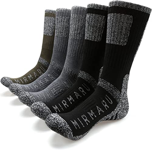 MIRMARU Men's 5 Pairs Multi Performance Outdoor Sports Hiking Trekking Crew Socks product image