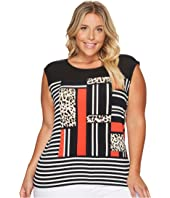 Calvin Klein Plus - Plus Size Mixed Media Print and Striped Top