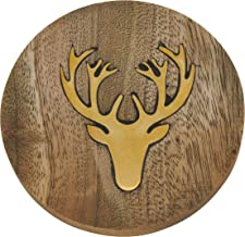 "SARO LIFESTYLE Sous-verre Collection Reindeer Inlay Wood Coasters (Set of 4), 4"", Natural"
