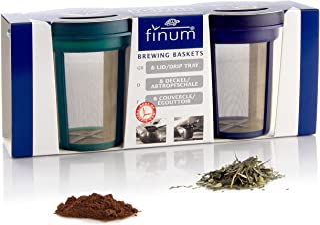 Finum Goldton - Cesta y filtros reutilizables de acero inoxidable para café y té (2 filtros de tamaño mediano), color azul...