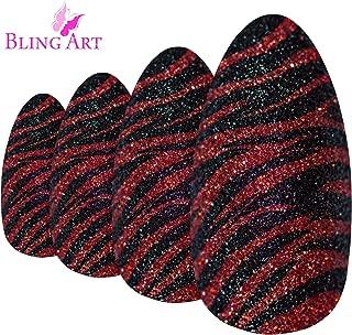 False Nails Bling Art Almond Fake Stiletto Red Black Glitter 24 Long Tips Glue