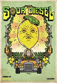 Sour Diesel - Full Color Cannabis Art Poster Featuring Famous Pot, Weed, Marijuana, Ganja from Around The Globe 13 x 19 Li...