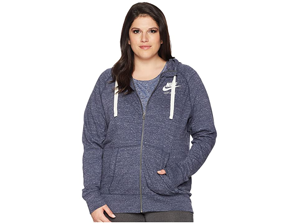 Nike NSW Gym Vintage Full Zip Hoodie (Size 1X-3X) (Thunder Blue/Sail) Women