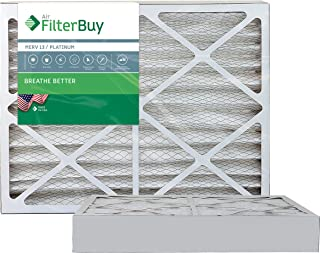 FilterBuy 20x25x4 MERV 13 Pleated AC Furnace Air Filter, (Pack of 2 Filters), 20x25x4 – Platinum