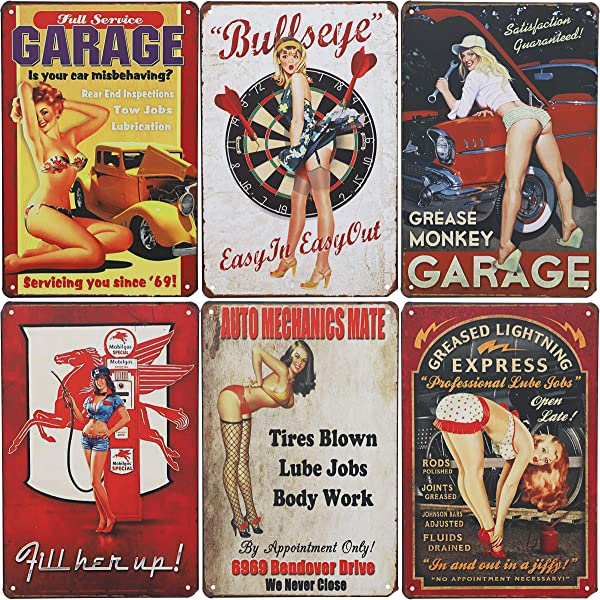 Juvale 6 Piece Tin Signs Vintage Style Metal Signs As Wall Decor Decorative Retro Coffee Bar Sign Pin Up Girls Sexy Car Garage Ladies 11 8 X 8 Inches