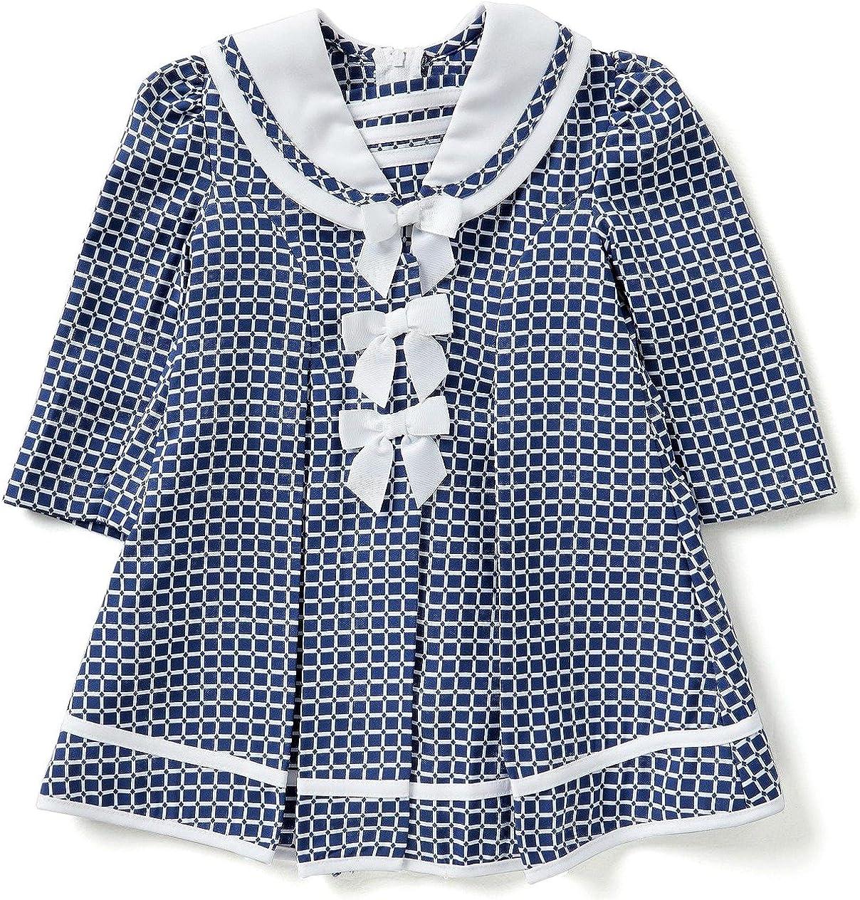 Bonnie Jean Little Girls Navy Check Coat and Dress Set 5