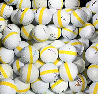 300 Premium Assorted Yellow Striped White Range Practice Golf Balls