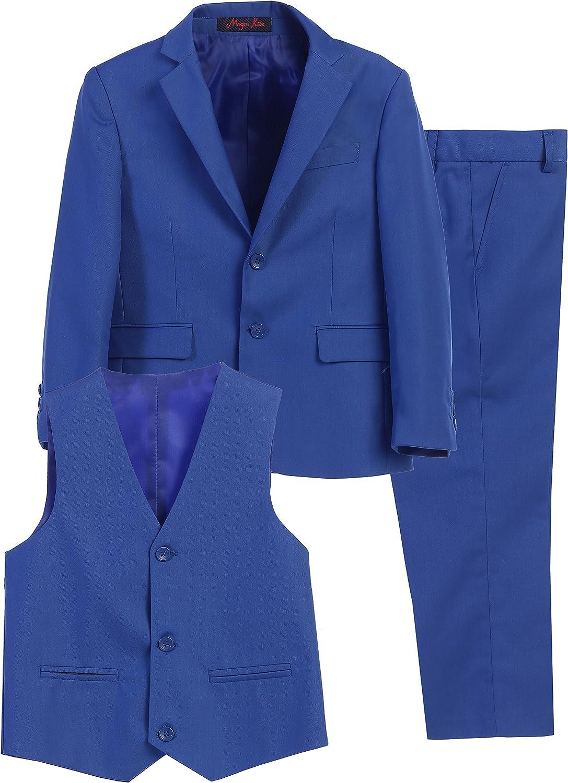 Magen Kids 3 Pc Boys Slim FIT Formal Royal Cobalt Blue Suit,Vest,Pant Set Size 1-18