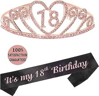 18th Birthday Tiara and Sash, Pink 18th Birthday Party Supplies Happy 18th Birthday Party Supplies, It's My 18th Birthday Black Glitter Satin Sash Tiara Birthday for 18th Birthday Party (Pink)