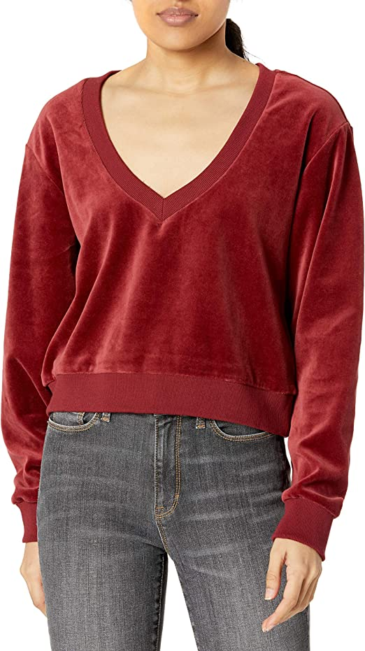 RVCA Womens Day Off Velour Pullover Top